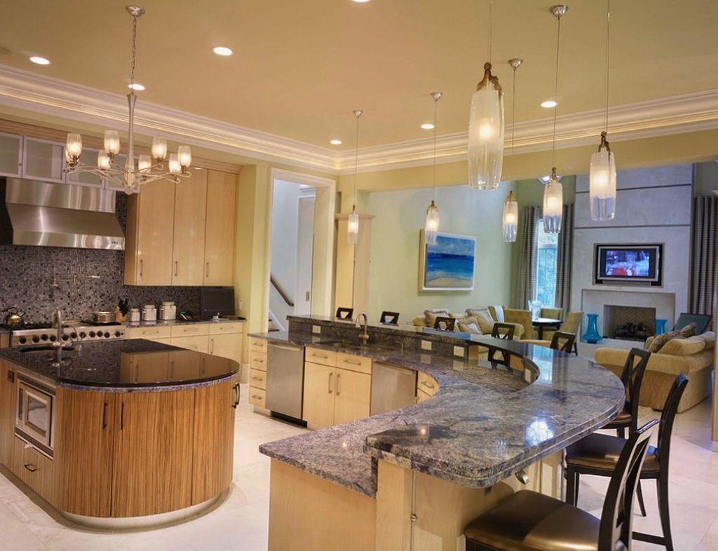 большие кухни фото дизайн с барной стойкой далась