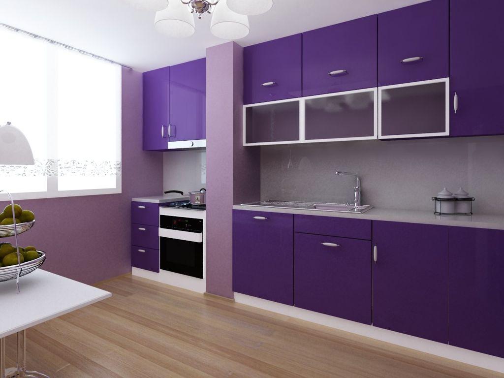разрезу кухни фиолетового цвета с белым фото этой